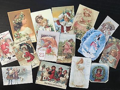 BB62 Lot of 15 Vintage Victorian CHRISTMAS GREETING CARD DIE CUTS 4 CARD MAKING