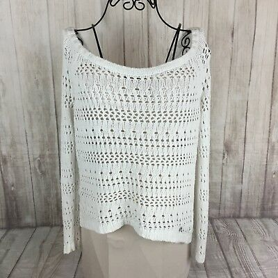 Abercrombie Kids Girls Size XL White Slouchy Loose Knit Pullover Sweater