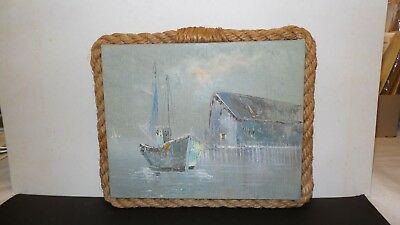 """Outstanding Sm 10"""" x 8"""" Oil Painting Artist signed Seascape Sailboat on Canvas"""