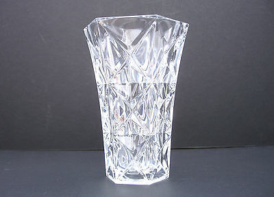 1980s Cut Glass Vase Bud Vase with a fantastic Star Design