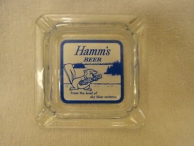 Hamm's Beer Glass Ashtray With Beaver From The Land Of Sky Blue Waters Nice Shap