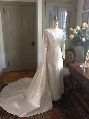 Vintage 1970 Wedding Dress And Train. Clean