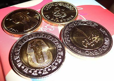 LOT of 4 UNCIRCULATED EGYPTIAN COINS 2 King TUT and 2 Queen CLEOPATRA2007/2010
