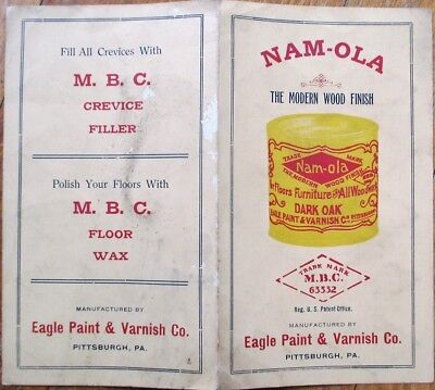 Paint/Wood Finish 1910 Advertising Booklet w/Color Samples: Nam-Ola - Pittsburgh