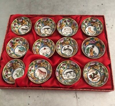 Vtg Set of 12 Sake Tea Cups Twelve Signs of Chinese Zodiac Hand Painted in Box