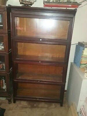 Barrister Bookcases - Antique Identical Pair of 4 Section Stacking Bookcases