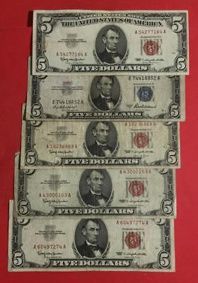 1953-1963 $5 Blue SILVER Certificate & RED US LEgal Tenders SEt of 5 X164 Curren