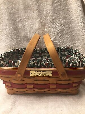 Longaberger 1996 Christmas Edition Holiday Cheer Basket w/HollyLiner & Protector