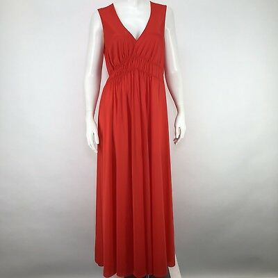 Vintage Miss Elaine Long Nightgown Gown Coral Red Mid Century 60's PJ *Flawed*