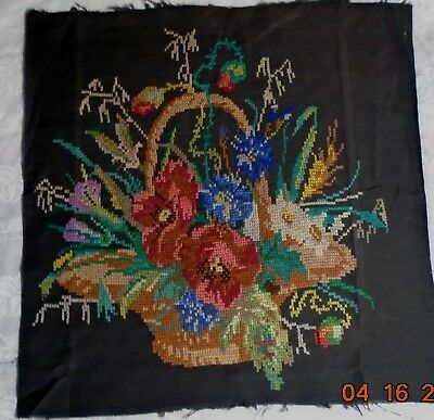 """Antique LATE 19TH CENTURY NEEDLEPOINT """"Basket with Flowers"""" 1870-1920"""