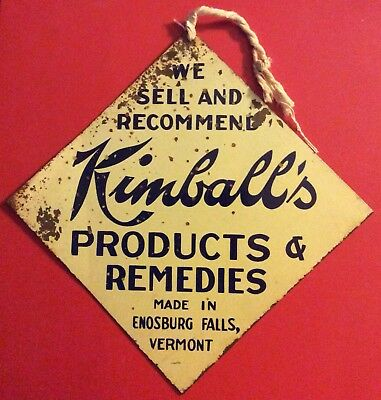 Antique Metal Advertising Sign Enosburg Vermont VT Kimball Products Remedies