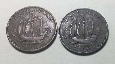 Lot of 2 - Great Britain 1943 & 1950 Half Penny Coins - King George VI