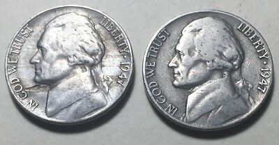 Lot of 2 - United States 1947 Jefferson Five Cents Coins