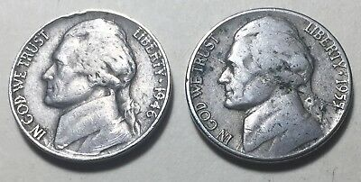 Lot of 2 - United States 1946 & 1955 Jefferson Five Cents Coins