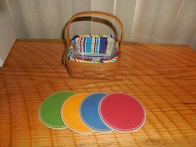 Longaberger Coaster Basket with Sunny Day Liner, Protector and 4 Coasters