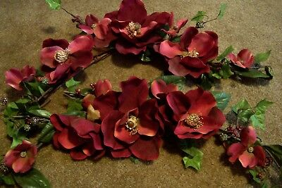 """Two 30"""" Home Interiors Burgundy Magnolia Flower Swags Great Shape"""