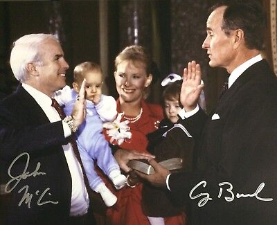 John McCain George HW Bush DUAL AUTHENTIC HAND SIGNED 8x10 Photo President