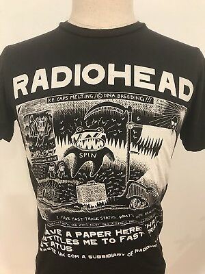 VTG Radiohead WASTE Mens Kid-A T-Shirt Black Tour Band Size Small