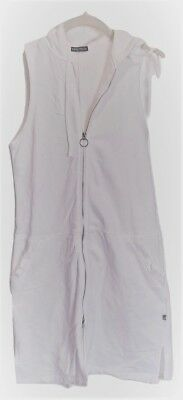 Nautica Swimsuit CoverUp 100% Cotton Jersey French Terry White Zip Front Hooded