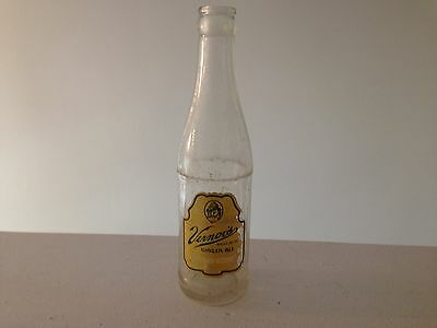Vintage Vernors Ginger Ale Clear Glass Bottle Green/Yellow Graphics