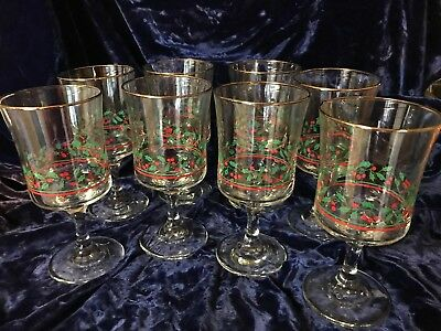 Arby's 1986 Christmas Holly 8 Glass 12oz Footed Tumblers