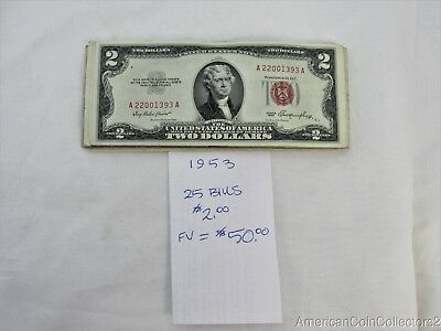 (25) 1953 $2.00 Notes Bills Currency *RED SEAL* Face Value=$50.00 *Nice* 12180