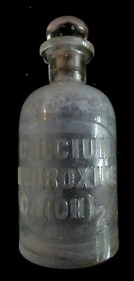 C 1890 Whitall & Tatum & Co Apothecary Storage Bottle w/Raised Calcium Hydroxide