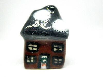 Dollhouse Miniature ceramic Christmas cottage-brown