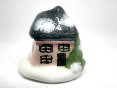 Dollhouse Miniature ceramic Christmas cottage-pink