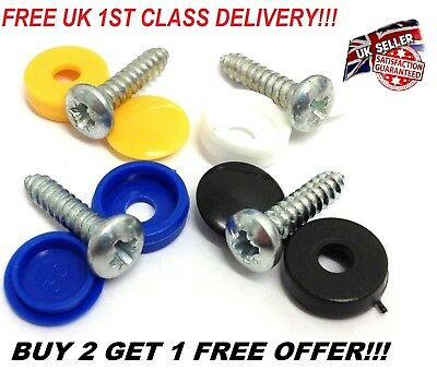 8 X Number Plate Car Fixing Fitting Screw Caps Black & White Uk Free Delivery