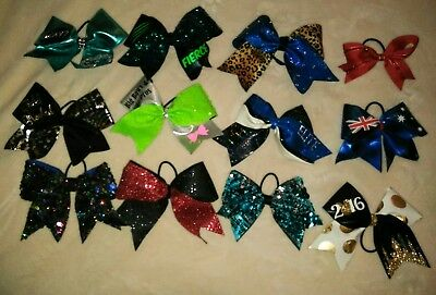 Lot Of 12 CHEERLEADING DANCE Sparkly Hair Ponytail BOWS