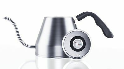 Pour Over Gooseneck Coffee Kettle 1.2L -- Thermometer, Stainless Steel Drip
