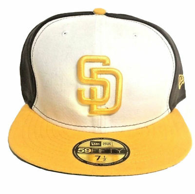 best service b0da1 2b4cd New Era San Diego Padres Brown Yellow White Men s Fitted Hat MLB 59FIFTY Cap
