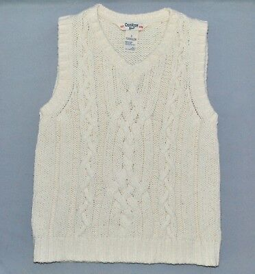 OshKosh B'gosh Toddler Boys Size 3T Knit Sweater Vest Cream Cable Knit
