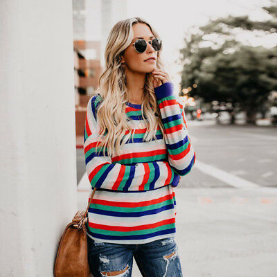 ec99f3b91a3f5e Autumn Women s Long Sleeve Crew Neck Striped Tops T-Shirts Ladies Casual  Blouses
