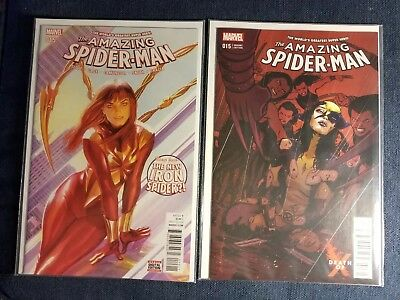Amazing Spider-Man #15 Alex Ross cover & Death of X variant Mary Jane both NM+