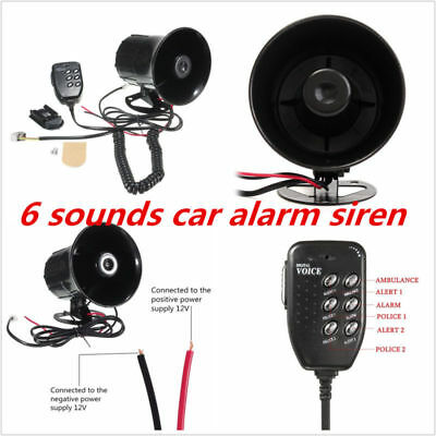 12V 6 Sound Car Warning Alarm Police Fire Siren Horn Loud Speaker W/ MIC System