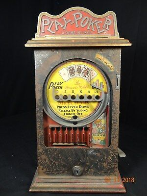 Vintage Play Poker Trade Stimulator Arcade Table Top 1 cent Gum Ball Machine