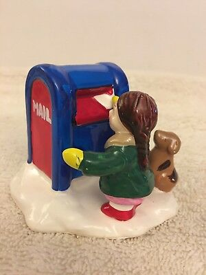 Dept 56 Christmas Village Girl Mailing Letter With Dog Figure
