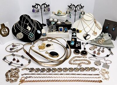 Large Lot of All Wearable Vintage to Mod Sterling Silver Jewelry 433 Grams