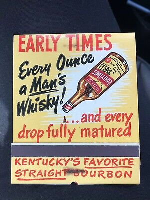 Whisky Early Times Vintage Jumbo Match Book Collector