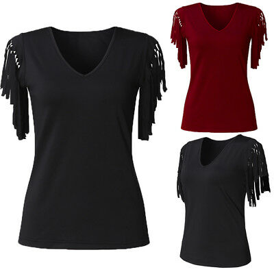 Women Summer Club Party Tassels Fringes Bodycon Top Blouse Tee Plus Size T-Shirt