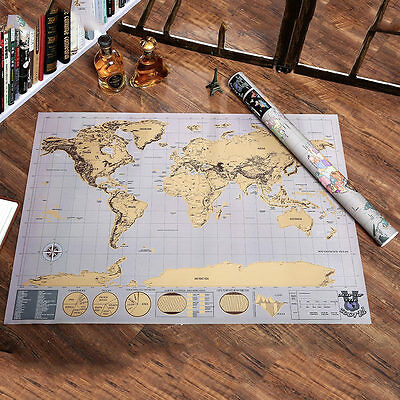 Deluxe Large Travel Scratch Off World Map Poster Personalized Journal Map US