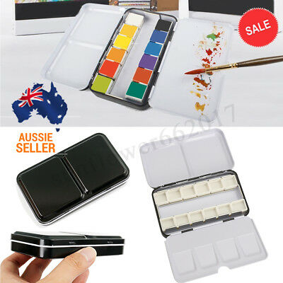 12 Blocks Iron Empty Watercolor Paint Tin box Metal Case With Pigment Card Slot