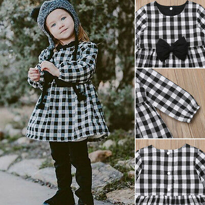 USA Toddler Baby Girls Autumn Clothes Long Sleeve Party Plaid Tops T-Shirt Dress