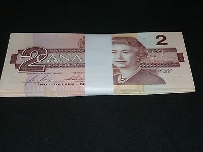 1986 BANK OF CANADA $2 TWO DOLLAR NOTES x 50 BILLS BIRD SERIES