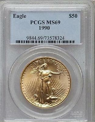 1990 Gold Eagle $50 Pcgs Ms69 Low Pop In Ms70 Only 36 Coins