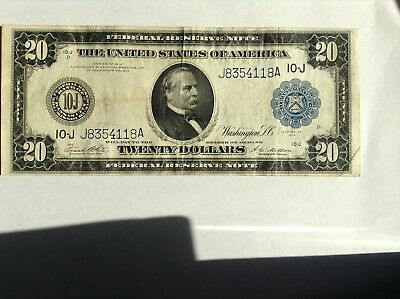 1914 $20 Federal Reserve Note, Rare, Large Size, Cleveland
