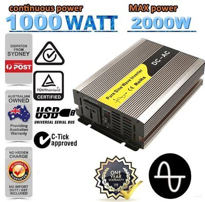 1000W (2000W Max) 12V-240V Pure Sine Wave Car Power Inverter W/ USB Charger ##