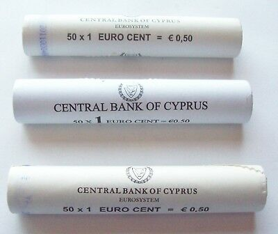 Lot Of 3 Central Bank Of Cyprus Wrapped Euro Cent Rolls Bu--2009 2010 2011